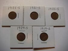 Lot of 5 Lincoln Wheat U.S cent Coins  #9613