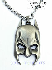 BATMAN SILVER Necklace Chain Pendant Dark Knight MASK FACE Superhero COMICS