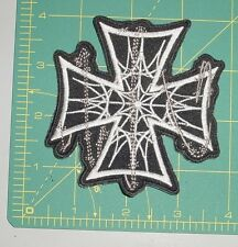 Embroidered Patch - Cross with Spider Webs