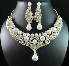 VICTORIAN PEARL AUSTRIAN RHINESTONE NECKLACE EARRINGS SET BRIDAL N1773G GOLD