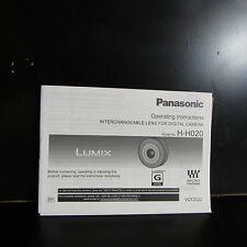 Panasonic H - H020 20mm f1.7 M4/3 Lens Owner Guide User Manual English O401854