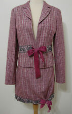 Miss Me Burgundy & Silver Shimmer Bead Bow Trim CUTE! Mini Skirt Suit NWOT L