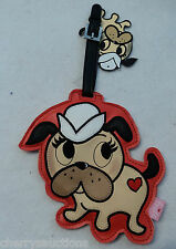 Tattoo Pooch Puppy Dog Pug Sailor FLUFF vegan leather LARGE LUGGAGE TAG