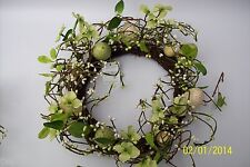 Gisela Graham Easter Egg  Wreath Green/Cream Twig  35 cm