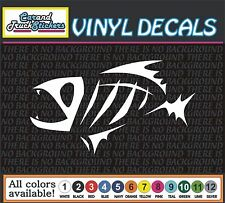 Skeleton Fish BONES Funny Fishing Vinyl Car Decal window sticker 6""