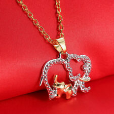 Fashion Women Animal Elephant Long Chain Crystal Silver Plated Pendant Necklace