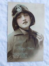 R061 HAPPY HOURS Greetings Woman in Rain Hat Postcard PHILCO Series No 1412/3