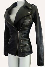 Women Biker Motorcycle Black Genuine Leather Jacket Sz S
