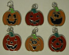 6 ENAMEL HALLOWEEN PUMPKIN JACK O LANTERN CHARMS SCRAPBOOK JEWELRY CRAFT LOT NEW