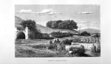 Stampa antica CAMPAGNA di ROMA Grotta di EGERIA a CARACALLA 1877 Old print Rome