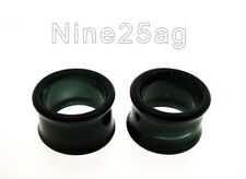 PAIR OF PYREX GLASS 6G 4MM BLACK TUNNELS PLUGS BODY JEWELRY PLUG