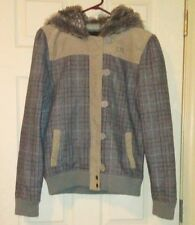 FOX GIRLS RACING Wool Brown Plaid Faux Fur Hoodie Jacket Size Large EUC