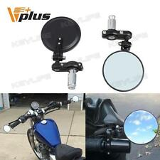 """Black Motorcycle Aluminum 3"""" Round 7/8"""" Handle Bar End Rearview Mirrors Foldable"""