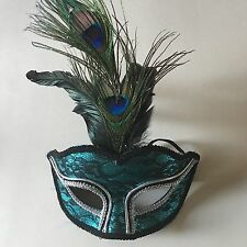 NWT PEACOCK MASK FEATHERS MAKER'S HALLOWEEN MASQUERADE PARTY EYE MASK LACE
