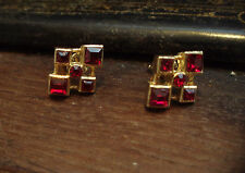 Elegant Vintage Deco Style Ruby Square Crystal Pierced Earrings Gold Plated