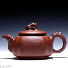 China national author totally handmade yixing zisha Purple clay dragon teapot