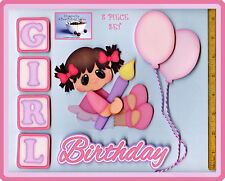 BIRTHDAY GIRL ~ premade scrapbook pages 8 pc 3D paper piecing DIE CUT BY CHERRY