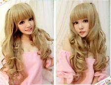 Harajuku Kawaii Long Flaxen Curly Cosplay wig +gift