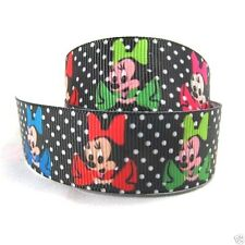 """Grosgrain Ribbon 7/8"""" Minnie Mouse Polka Dots Printed FOR Hairbows USA Seller"""
