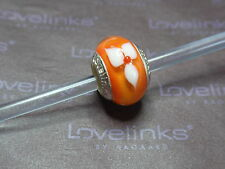 ** Genuine Lovelinks * ORANGE CLEMATIS Murano Bead *