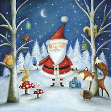 "Christmas Paper Luncheon Napkins 40 pcs 13""x13"" Santa & Friends Forest Animals"