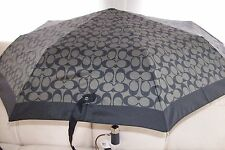 COACH BLACK/GRAY SIGNATURE LG PUSH BUTTON UMBRELLA F63364 NWT