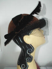 VINTAGE HAT 1940's Brown  and Black roll top feather look side full veil KANGOL