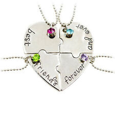 4PC Crystal Heart Best Friend Forever And Ever Puzzle BFF Gifts Pendant Necklack