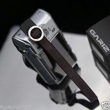 GARIZ XS-WFSN2 Leather Camera Wrist & Finger Strap Black/Red for Digital Camera