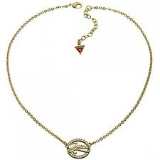 Guess Gold Logo Link Zirconia Crystal Pendant & Chain*Gift Boxed*Brand New