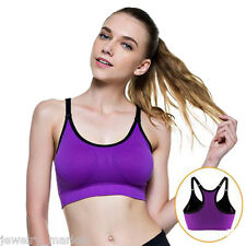 Women's Padded Sport Bra Without Underwire Push Up Yoga Purple Camisole M