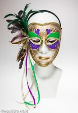 Mardi Gras Mask Gold Green & Purple Plastic Female Face With Feathers & Ribbons