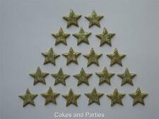 20 X EDIBLE GOLD GLITTER STARS. CAKE DECORATIONS - SMALL 2cm