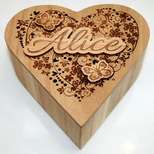 Personalised Gift Wooden Heart Jewellery Box Keepsake Box Trinket & Memory Box