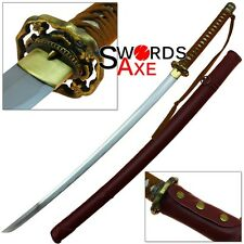 Japanese Ryukyu Suna Hana 1095 HC Functional Katana Sword Leather Wrapped