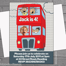 Personalised Red Bus Photo Birthday Party Invitations x 12 inc env H0424