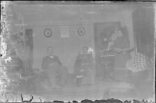 Antique 4x6 Glass Plate Negative 3 People in Their Home (V3797)
