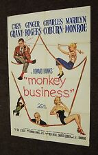 Monkey Business Original 1 sheet Movie Poster 1952 Marilyn Monroe Cary Grant