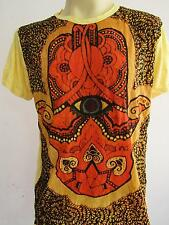 Third eyed OM Men T Shirt Denim Wrinkled Cut Yellow L Dy02