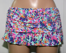 NEW Kenneth Cole Navy Floral Ruffled Swimwear Skirted Bottom L Large RS6RJ92