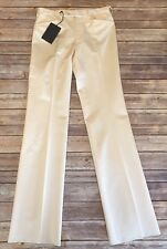 PRADA Natural Ivory Off White Silk Wool Flat Front Dress Pants Sz 44 US Sz 8 10