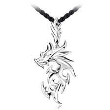 New Fashion Mens Silver Plated Stainless Steel Dragon Pendant Necklace Chain