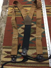 Cowboy Western Cloth Leather Suspenders Braces Classic Old West Styles Maker Tan