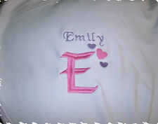 Hearts Monogram Personalized Baby Toddler Blanket Girl Hearts Font Pink & Purple