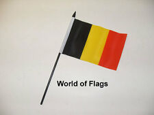 "BELGIUM SMALL HAND WAVING FLAG 6"" x 4"" Belgian European Crafts Table Display"