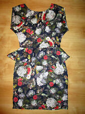 WAREHOUSE black white red floral peplum silky pencil dress Sz 10