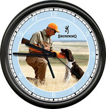 Browning Rifle Gun Dealer Hunter Brittany Spaniel Hunting Dog Sign Wall Clock