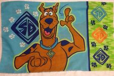 Scooby Doo Pillow Case Hanna Barbera Blue Green Dog Paw Print Cartoon 31x19.5 In