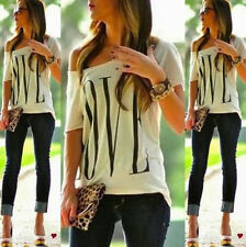 New Sexy Women Short Sleeve Loose White T Shirt Summer Casual Lover Tops Blouse