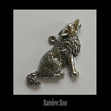 PEWTER CHARM #434 HOWLING WOLF 35mm x 25mm silver tone